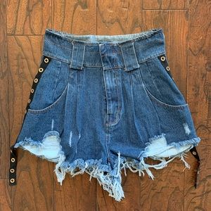 High waist designer denim shorts